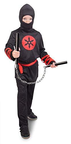 Folat 63278 Ninja Krieger Kostüm, Jungen, Größe 98-116, Schwarz