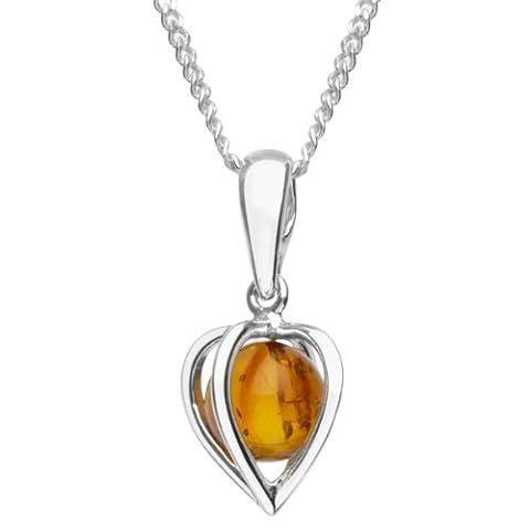 InCollections Damen-Halskette Herz 925 Sterling Silber 1 Bernstein gelb 42 cm 241A200320890