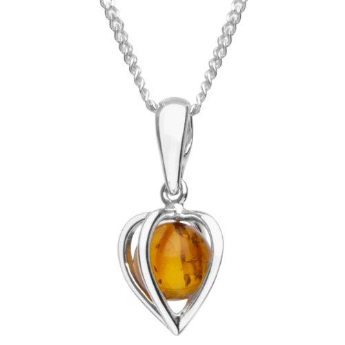 InCollections Catenina con pendente da Donna con ambra Argento Sterling 925 42