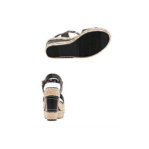 SHEO sandales à talons hauts Muffins à talons hauts à bas prix avec pantoufles ( Couleur : Noir , taille : 39 ) Noir