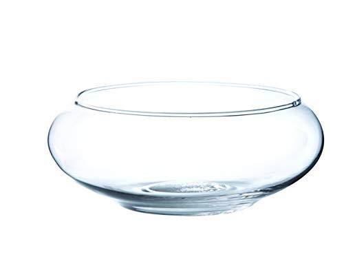 INNA Glas - Coupe en verre ronde KENDY, transparent, 8 cm, Ø 19,5 cm - Coupelle ronde / Verre à bougie