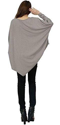 Blansdi Damen Frühling Herbst Casual Langarm Rundhals Unregelmäßig Lose Oberteile Bluse Tops Pullover Oversize T-shirt Sweatshirt Eine Größe Silber