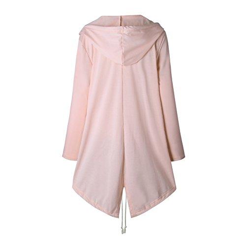 Balai Giacca con cappuccio con cappuccio lungo con cappuccio donna Trench Parka Outwear Rosa