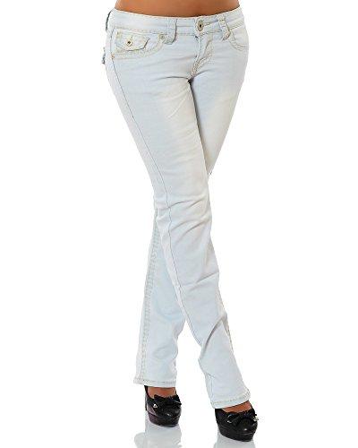 Damen Jeans Straight Leg (Gerades Bein Dicke Nähte Naht weitere Farben) No 12923, Größe:42;Farbe:Hellblau
