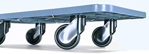 Möbeltransportroller 590x290mm grauer PP Rahmen 4x Kunststoff-Lenkrolle ø 75mm, schwarze PP Räder, Tragkraft 200Kg Design Möbelroller Rollbrett Hund Möbelhund 590 x 290 Made in EU -