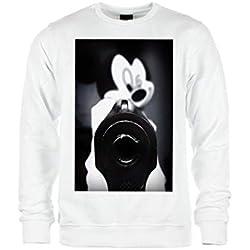 Magic Custom Mickey Swag - Sweat Col Rond Crewneck Mickey Gun - Blanc - M