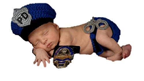 Baby Mädchen/Jungen häkeln Stricken Kostüm Fotografie Prop Outfits (Polizei) ()