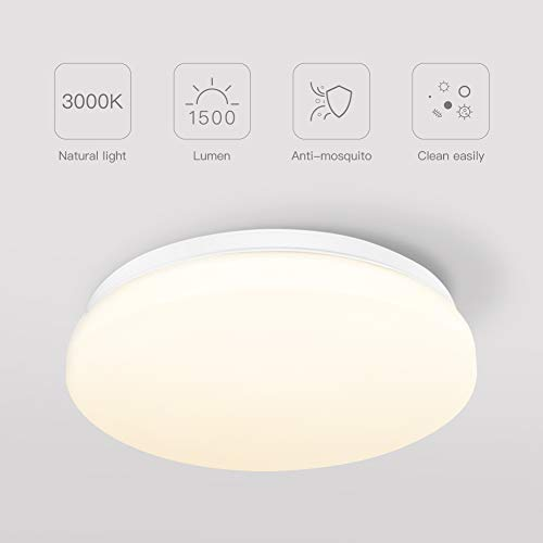 Lámpara de techo LED de 18W, luz blanca cálida de 3000K, accesorio...
