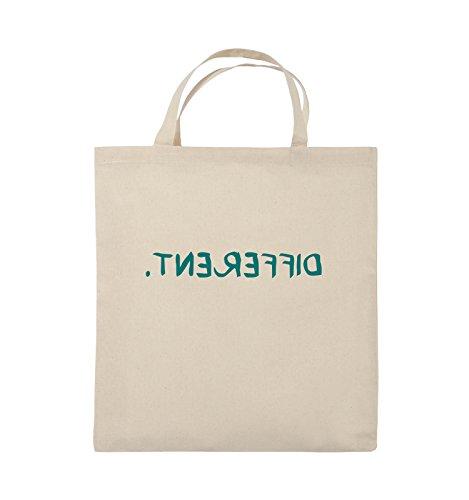 Comedy Bags - DIFFERENT - GESPIEGELT - Jutebeutel - kurze Henkel - 38x42cm - Farbe: Schwarz / Silber Natural / Türkis