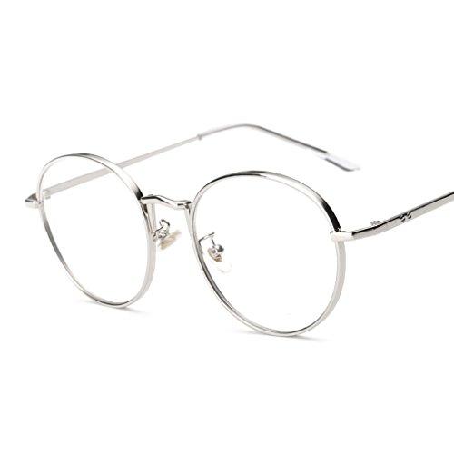 Fenteer Vintage Runde Brillenfassung Metallrahmen Brille Gläser Durchsichtig Nerdbrille - Silber, one size