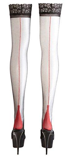 *Halterlose Strümpfe mit roter Naht S – XL Schwarz Cottelli Collection Größe XL*