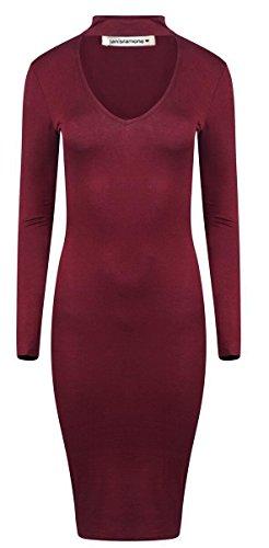 Janisramone - Robe - Robe midi - Uni - Manches Longues - Femme noir * taille unique Bordeaux