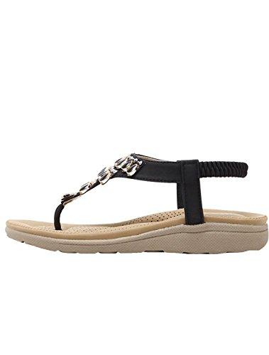 Minetom Damen Sommer Bohemia Stil T-strap Clip Toe Sandalen Strand Flach Schuhe Sandalen mit Steinen Schwarz