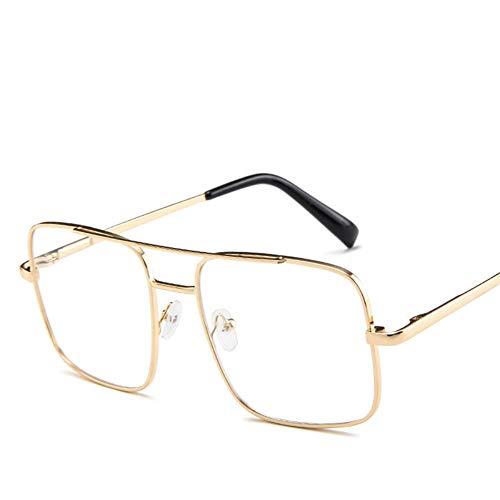 MOJINGYAN Sonnenbrillen Fashion Square Sonnenbrille Men's Oversized Fahren Coole Sonnenbrille Retro Übergroßen Schatten Metall Seite Transparente Gläser