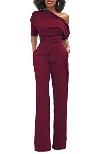 KISSMODA Sexy One-Shoulder-hoch taillierte lange breite Beinhosen Clubwear Jumpsuit Wein rot groß