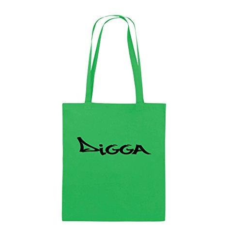 Comedy Bags - DIGGA im GRAFFITI Style - Jutebeutel - lange Henkel - 38x42cm - Farbe: Schwarz / Pink Grün / Schwarz