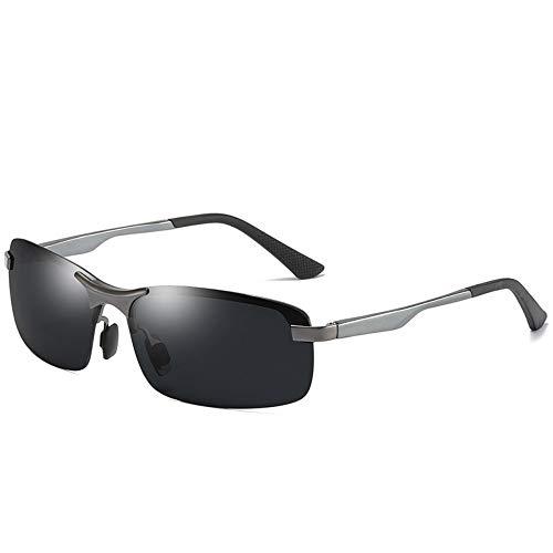 Sonnenbrille, Casual Rahmenlose Polarisierte Metall Pilot Spiegelgläser Fahren Männer Hochwertige Sonnenbrille Uv400 Gun Schwarz