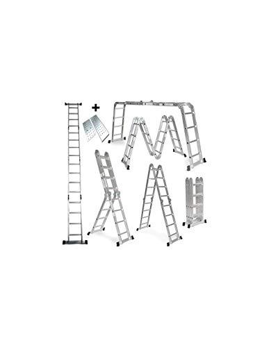 Escalera De Aluminio Plegable 575cm, Multifuncional 6 En 1, Andamio/Plataforma Incluida, Carga Máxima...