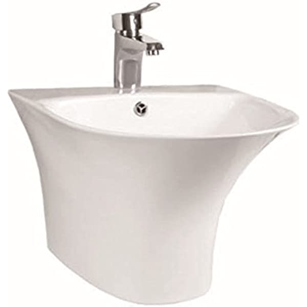 Modern Design Ceramic Semi Pedestal Basin Wall Hung Bathroom Sink Wash Bowl Amazon Co Uk Kitchen Home