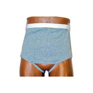 8093206ML - Mens Wrap/Brief with Open Crotch and Built-in Ostomy Barrier/Support Gray, Left-Side Stoma, Medium 36-38 by Options Ostomy Support Barrier Inc Open Crotch Briefs