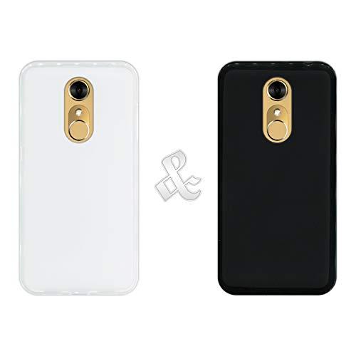 Pack [2 Stück] Hülle [Klar + Schwarz] für [ZTE Blade A910] - Handyhülle Silikon Flexibel Gel, Stoßfest, Harte Schutzhülle, Schutz vor Kratzer & Staub