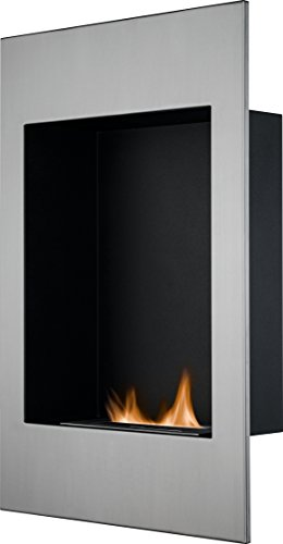 The Alexis Wall Mounted Bio Ethanol Fire in Stainless Steel, 20 Inch