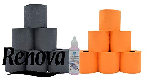 Farbiges schwarzes und oranges Luxus Klopapier von Renova WC Papier Toilettenpapier mit Test Glas - Reiniger von KaiserRein