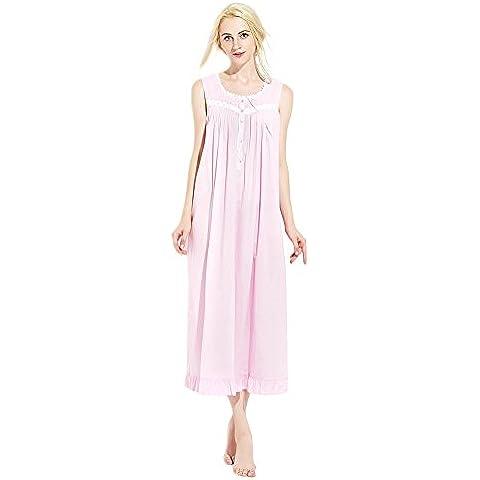 Jinyufeng Donne Camicia da Notte Collo Square è Pizzo Senza Maniche Rosa DK7815 (S/M)