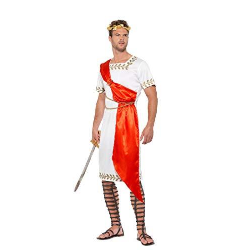 Kostüm | Weiß-Rot in Größe XL (56/58) | Herrschaftliche Herren-Verkleidung Cäsar Tunika | EIN Highlight für Kostümfest & Mottoparty ()