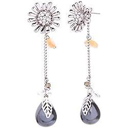 WY-EHSP Pendientes Colgantes de Perlas de Flores Margarita Pendientes Largos Desmontables,Silver