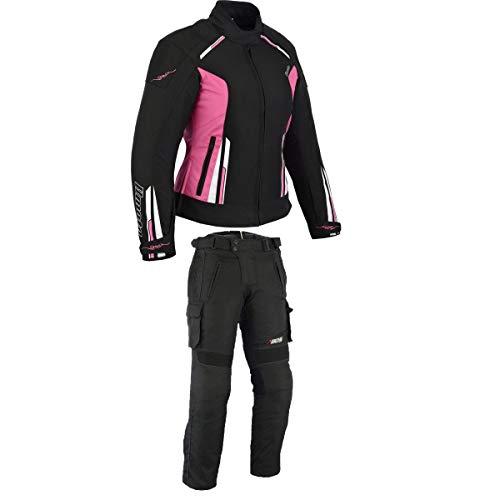BOSmoto Damen Motorrad Motorradkombi Textil Schwarz Weiß Rose (XL)