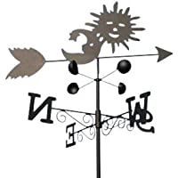 Garden Market Place Sun & Moon Steel weathervane with Ground Spike and Wall Fixing