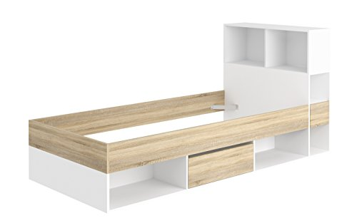 Loft24 Funktionsbett Bett 90x190 cm Jugendbett Kinderbett Einzelbett Bettgestell mit Schublade weiß & eichefarben (Weißes Mit Schubladen Einzelbett)