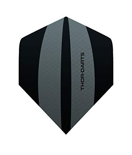 THOR-DARTS Exclusiv-Line: 30 Black - Grey Darts Flights HD-240 F3 schwarz/grau Dart Flys extra Lange haltbar Thickness > 100 mic (30 Stück (10 Set, schwarz)