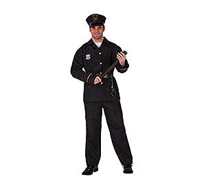 Atosa-39516 Atosa-39516-Disfraz Policia-Adulto XS a S-Hombre, Color Negro (39516)