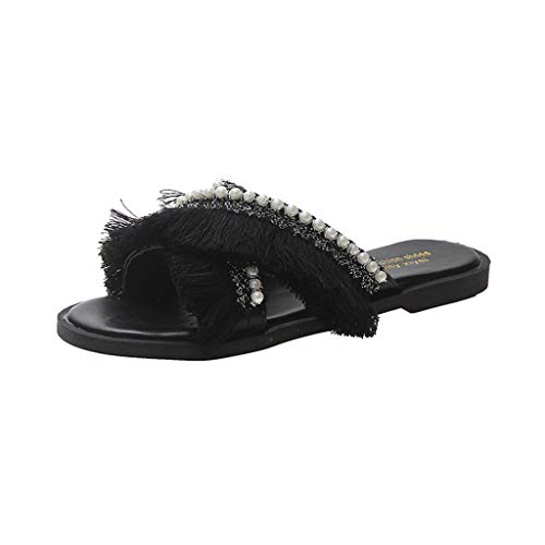 PRINCER Womens Pearl Holiday Dressy Party Sandals Fashion Sandals Women New Classic Fringed Pearl Slippers Summer Outdoor Shoes