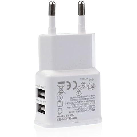 USB caricatore a 2 porte - doppio adattatore spina UE per il iPhone iPod 4 5 Galaxy S3 S4 S5 Note Nexus (Bianco)