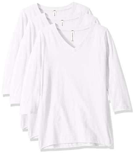 AquaGuard Damen Combed Ringspun V-Neck 3/4-Sleeve 3 Pack T-Shirt, weiß, Mittel - Ringspun-fußball-t-shirt