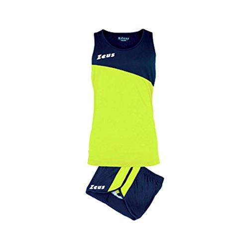 Completino kit robert zeus sport corsa atletica blu-giallo taglia xxl