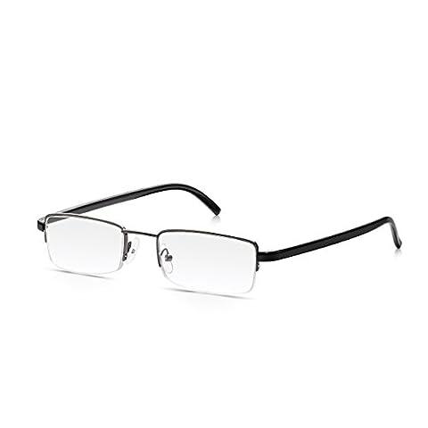 Read Optics Herren Halbrahmen Stahl Lesebrillen: Rechteckige Qualitäts-Linsen in poliertem Gunmetal mit Glänzenden Schwarz Konturierten Armen, Stärke (Leichtem Polycarbonat-rahmen)