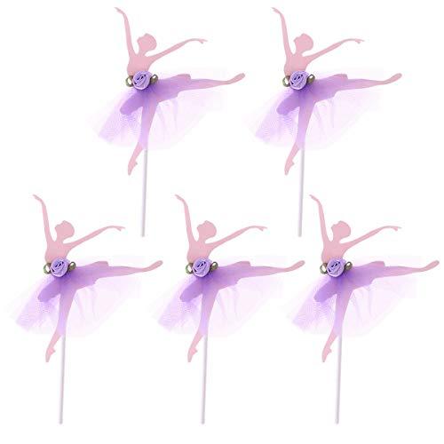 Amosfun 5pcs Ballerina Girls Cupcake Topper Cake Decoration for Wedding Bridal Shower Birthday Party (Purple)