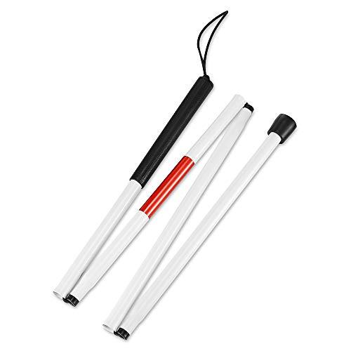Favsonhome Gehstock, faltbar, mit Strukturiertem Griff, Rot/Weiß