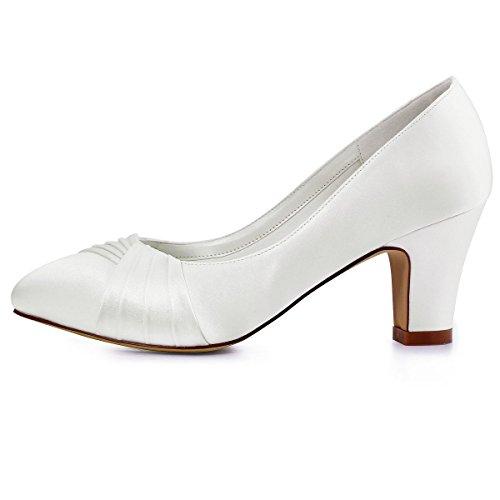 ElegantPark HC1608 Femme Bout Fermé Confort Doublure Plissé Satin Chaussures de Mariage Mariée Ivoire