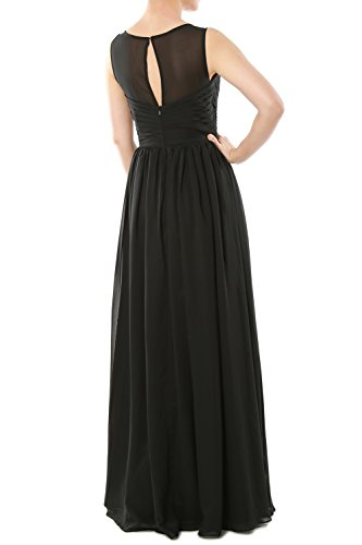 MACloth Women's O Neck Long Chiffon Bridesmaid Dress Formal Evening Party Gown Dark Navy