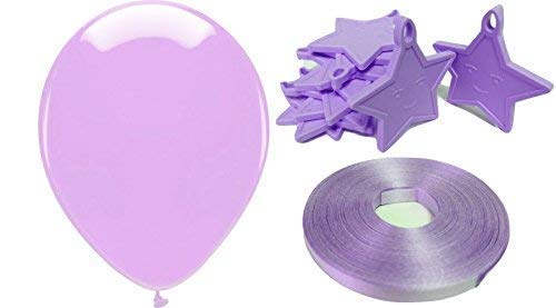 rty Packung - inklusive 25 X Luftballons, 10 X Star Gewichte & 50 Metres of Luftballon Kringelband - Lila Thema ()