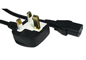 3m Kettle Lead - IEC (C13) to UK Mains (3 pin) Cable - 5A (amp) - Moulded - Black Coloured - Approve by A.S.T.A - N14586