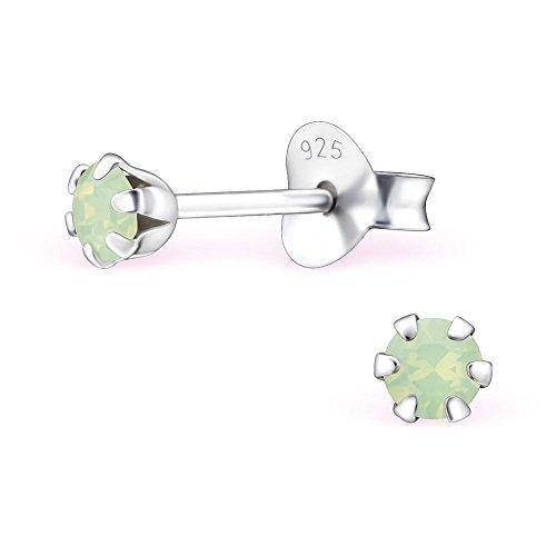Bungsa grüner Opal Damen-Ohrstecker mit SWAROVSKI Kristall aus 925 Silber - 3mm rund - Chrysolite Opalit