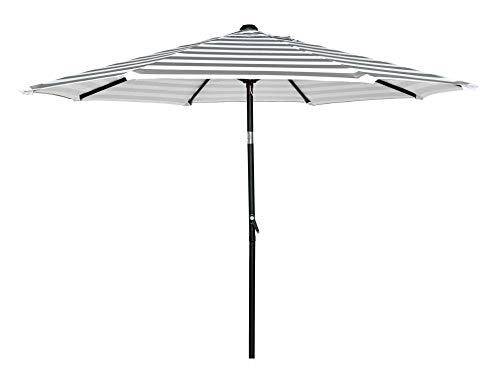 HERMO 98S Roun 9 Ft Outdoor Patio 8 Ribs Market Table Umbrella, beige - 9' Market Umbrella Base