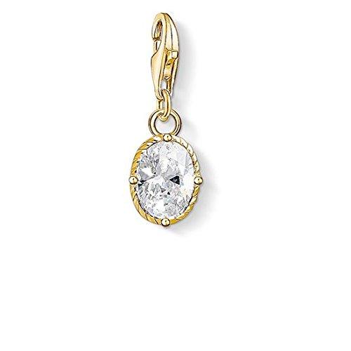 Thomas Sabo Damen-Anhänger weißer Stein 925 Sterling Silber gelbgold vergoldet 1673-414-14