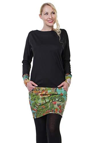 DREI Elfen Kleider Kleid Damen Taschen Langarm Kleid Mini Rock Sweat Shirt schwarz - wimmel XS